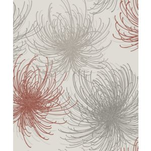 Image of Gold Cosmo Red Floral Glitter Wallpaper