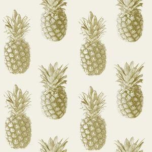 Photo of Ideco home cream pineapple metallic effect wallpaper