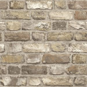 Image of Grandeco Country brick Neutral Faux wall Matt Wallpaper