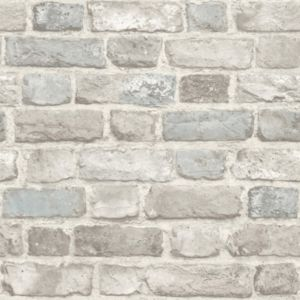 Image of Grandeco Country brick Teal Faux wall Matt Wallpaper