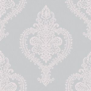 Image of Grandeco Adalyn Blush grey Damask Mica highlight Wallpaper