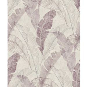 Image of Grandeco Capri Burgundy & taupe Leaf Matt Wallpaper