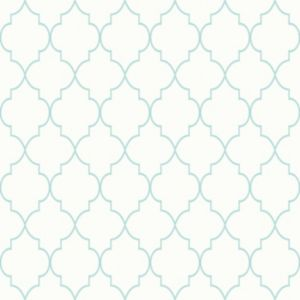 Image of Grandeco Deco trellis Mint & white Geometric Mica highlight Wallpaper