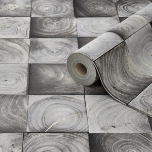Image of Grandeco Contour Grey Wallpaper