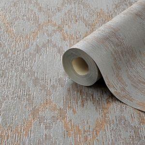 Image of Grandeco Uteki Grey bronze & copper Geometric Mica Wallpaper