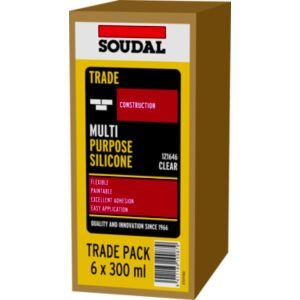 View Soudal White Silicone Multi-Purpose Sealant 300 ml, Pack of 6 details