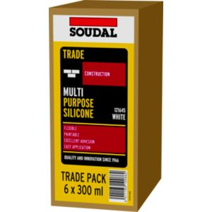 View Soudal Silicone Multi-Purpose Sealant 300 ml, Pack of 6 details