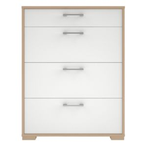 View Evie Oak Effect & White 4 Drawer Chest (H) 910 mm (W) 702 mm details