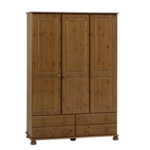 View Malmo Stained Pine 3 Door 4 Drawer Wardrobe (H) 1.853 M (W) 1.296 M details