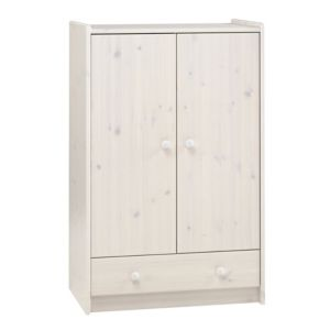 View White Wash 2 Door 1 Drawer Wardrobe details