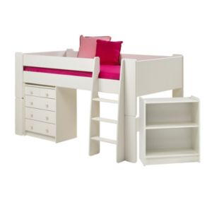 Wizard White & Painted Mid Sleeper Bed with Desk & Chest Of Drawers