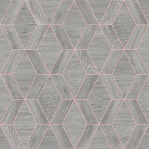 Image of Rasch Geo Grey Wooden effect Wallpaper