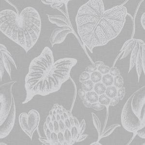 Image of Rasch Havanna Grey & silver effect Foliage Wallpaper