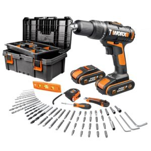 Image of Worx Cordless 20V 1.5Ah Li-ion Brushed Drill 2 batteries WX386.5