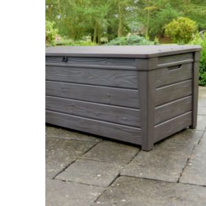 Image of Brightwood Wood Effect Plastic Garden Storage Box