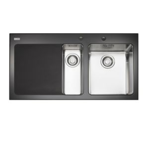 View Franke Kubus 1.5 Bowl Toughened Glass & Stainless Steel 1.5 Kitchen Sink details
