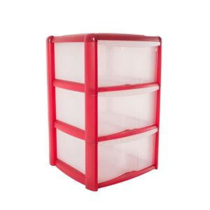 View B&Q Red Plastic 3 Drawer Tower Unit details