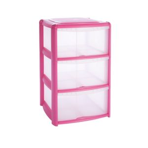 View B&Q Pink Plastic 3 Drawer Tower Unit details