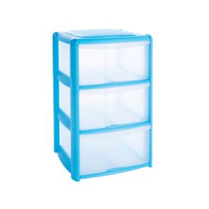 View B&Q Blue Plastic 3 Drawer Tower Unit details