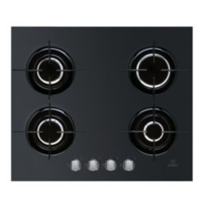 View Indesit 4 Burner Black Cast Iron Gas Hob details