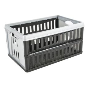 View B&Q Black & Grey 60 L Plastic Folding Crate details