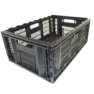Image of Tontarelli Folding Crate Black 46L Plastic Storage Crate