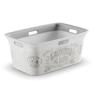 View Launry De Luxe White & Grey Plastic Laundry Basket, 45L details