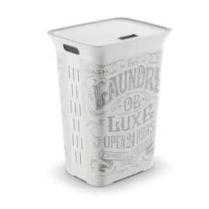 View Laundry De Luxe White & Grey Plastic Laundry Hamper, 60L details