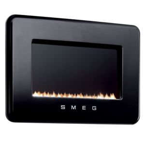 View Smeg Retro Black Wall Hung Gas Fire Black Glass Front details