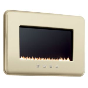 View Smeg Retro Cream Wall Hung Gas Fire Black Glass Front details
