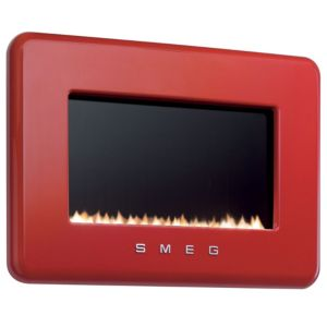 View Smeg Retro Red Wall Hung Gas Fire Black Glass Front details