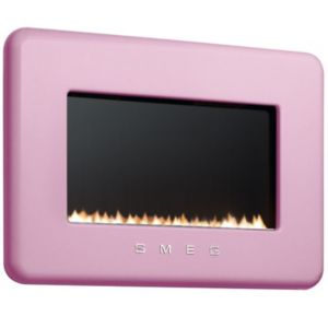 View Smeg Retro Pink Wall Hung Gas Fire Black Glass Front details