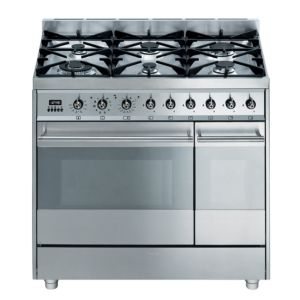 View Smeg Dual Fuel Range Cooker with Gas Hob, SY92PX8 details