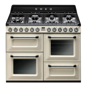 View Smeg Internal Dual Fuel Range Cooker, Cream Glass & Stainless Steel details