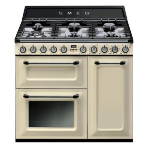 View Smeg Internal Dual Fuel Range Cooker, Cream Stainless Steel details