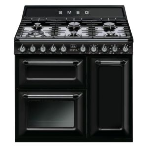 View Smeg Internal Dual Fuel Range Cooker, Black Stainless Steel details