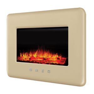 View Smeg Retro Cream LED Display Remote Control Wall Hung Electric Fire details