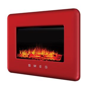 View Smeg Retro Red LED Display Remote Control Wall Hung Electric Fire details