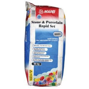 View Mapei Fast Set Powder Stone & Porcelain Adhesive Grey 20kg details