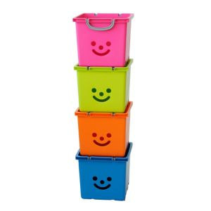 Image of Children's smiley Pink 30.6L Plastic Stackable Storage box