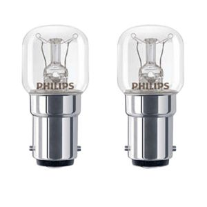 Philips Small Bayonet Cap (B15) 15W Incandescent Appliance Light Bulb  Pack of 2