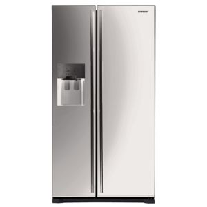 View Samsung RS7567BHCS Silver Freestanding Side By Side Fridge Freezer details