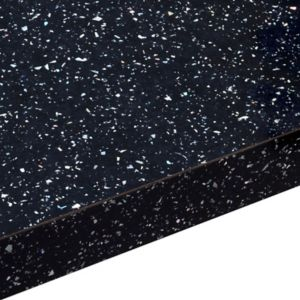 View 38mm B&Q Astral Black Gloss Laminate Square Edge Kitchen Worktop details