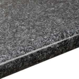 View 38mm B&Q Black Quartz Gloss Laminate Round Edge Kitchen Breakfast Bar details