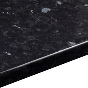 38mm Ebony Granite Laminate Black Gloss Stone Effect Round Edge Worktop (L)3000mm (D)600mm