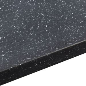 View 34mm Black Star Solid Surface Round Edge Kitchen Worktop with Sink & Drainer details