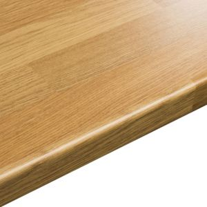 View 38mm B&Q Oak Block Laminate Square Edge Kitchen Worktop details