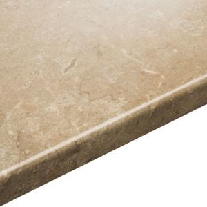 View 38mm IT Kitchens Travertine Beige Laminate Square Edge Kitchen Worktop details