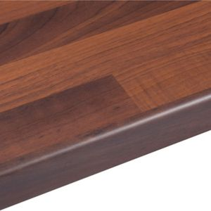 View 38mm B&Q Walnut Butchers Block Laminate Round Edge Kitchen Worktop details