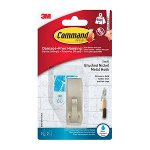 3M Command Modern Nickel effect Plastic Small Single Adhesive hook (H)60mm (W)22mm (Max. Weight)0.45kg